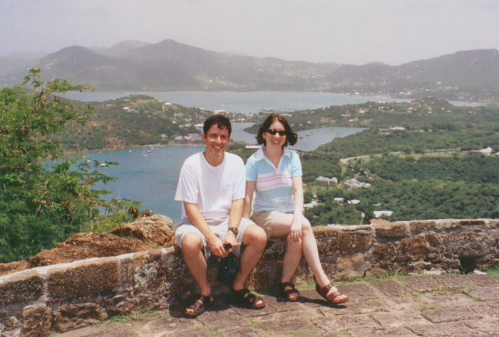 Christine and I on Shirley Heights overlooking Nelson's Dockyard