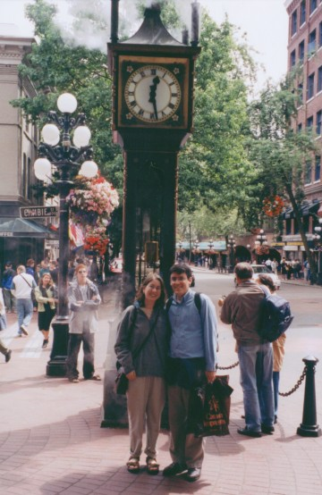 Christine and I at the steam-powered clock in Gastown